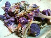 紫カリフラワーときのこのクリーミー炒め
